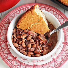 Soup Beans and Skillet Cornbread. My granny was a hillbilly in the southwestern tip of Virginia.  She was raised on soup beans and corn bread.  Looking for that taste!