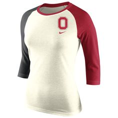 Women's Nike Natural Ohio State Buckeyes Strong Side Tri-Blend Raglan T-Shirt