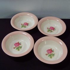 (Set of 4) Homer Laughlin Swing Moss Rose Cereal Bowls from ruthsredemptions on Ruby Lane