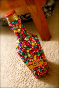 great birthday present. someone make it for meeeeeee :D Bromley Bromley Brannon S. Bottle Art, Bottle Crafts, Bottle Painting, Craft Gifts, Diy Gifts, Bedazzled Bottle, 21st Bday Ideas, 21st Birthday Presents, Geek Gifts