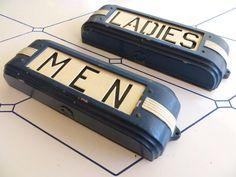 "Cast Iron Art Deco ""MENS"" & ""LADIES"" Hollywood Theatre / Opera House Illuminated Restroom Signs -- Wonderful Streamlined 'Train Car' Design"