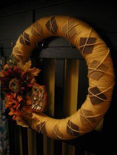 yarn and felt argyle wreath love love love this!!
