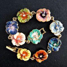 Joan Rivers Enamel Gold Tone Pansy Flower Charm Bracelet