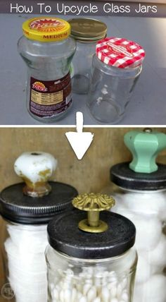 This upcycling craft idea is perfect for storing small items! Recycle your food jars to make beautiful glass jars. So cheap and easy! You could even sell these! Recycled projects and crafts are my favorite. #recycledcraft #recycledproject #recycling #crafts #diy #instrupix #doityourself #homedecor