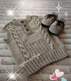 It's a beautiful baby vest.You can get detailed information about this model from the link below. Kids Knitting Patterns, Knitting For Kids, Knitting For Beginners, Knitting Designs, Hand Knitting, Knitted Baby Outfits, Knitted Baby Cardigan, Baby Pullover, Crochet For Boys