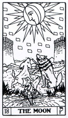 The Moon - Builders of the Adytum Tarot (B.O.T.A. Tarot)