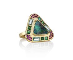 Boulder Opal framed with tsavorite, green beryl, emerald and pink sapphire Hoffman Ring #brookegregson brookegregson.com