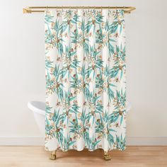 'Eucalyptus & Bees, Turquoise Copper Gold' Shower Curtain by ThistleandFox Gold Shower Curtain, Surface Pattern Design, Sell Your Art, Fox, Fabrics, Copper, Curtains, Turquoise, Printed