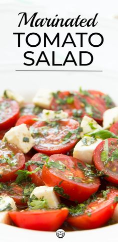 Tomato Salad Recipes, Healthy Salad Recipes, Veggie Recipes, Vegetarian Recipes, Cooking Recipes, Tomato Side Dishes, Marinated Tomatoes, Summer Salads, Summer Bbq