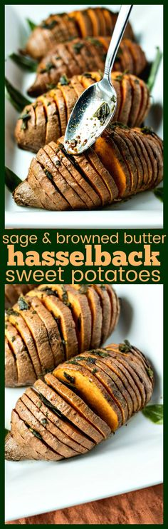 "Sage & Browned Butter Hasselback Sweet Potatoes – Sweet potatoes sliced ""hasselback-style"", baked to perfection, and finished off with a sage & browned butter sauce to make for the best side dish in any meal #thanksgivingrecipes #sidedish #sweetpotato"