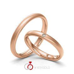 1 Paar Trauringe - Legierung: Rotgold 585/- Breite: 3,00 - Höhe: 1,40 - Steinbesatz: 1 Brillant 0,02 ct. tw, si (Ring 1 mit Steinbesatz, Ring 2 Trauringe Steinbesatz)