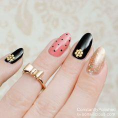 Studded Accent Nail  || 8 Manicure Ideas for First Date: http://sonailicious.com/10-easy-manicure-ideas-first-date/