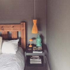 Bedside in my dark grey painted bedroom.