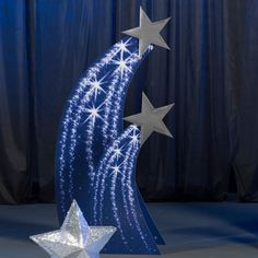 Add our purplish blue Shooting Star Standee set to your theme decor for a spectacular display. These freestanding cardboard props have detailed shooting star images with an star cutout at the top. to 6 ft. Shooting Star Standee Set - this would be ea Star Centerpieces, Star Decorations, Wedding Decorations, Christmas Decorations, Centerpiece Ideas, Star Wars Party, Star Theme Party, Night To Shine, Starry Night Wedding
