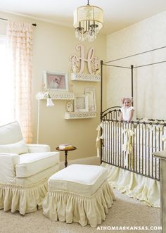 In 9-month-old Brooklyn's room, the crib and glider are from Kid's Furniture