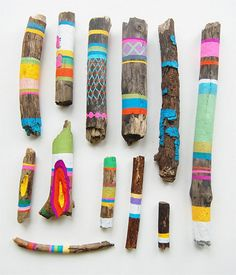Painted wood .. for some reason I really like these. Reminds of a craft project me and @cindy reynolds did when i was a kid where we painted sticks to look like snakes :D the results were super cute and lasted YEARS btw