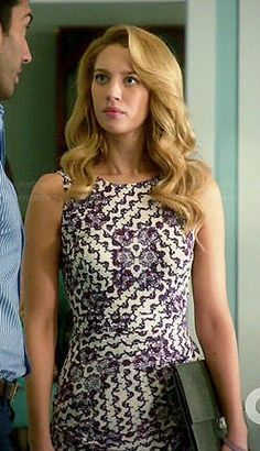 Petra's purple printed and draped dress on Jane the Virgin.  Outfit Details: https://wornontv.net/45060/ #JanetheVirgin