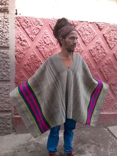 Authentic Vintage Alpaca Peruvian Poncho: Handwoven in the Andes Alpaca Poncho, Alpaca Wool, Mesoamerican, Scouting, Hand Weaving, Trending Outfits, Sweaters, Clothes, Vintage
