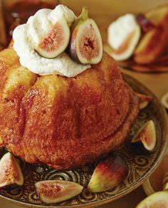 Honey Savarin with Fig- Chevre Cream