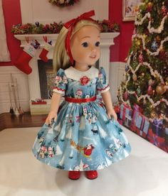 Wellie Wisher Christmas dress Here Comes Santa by craftymagaw