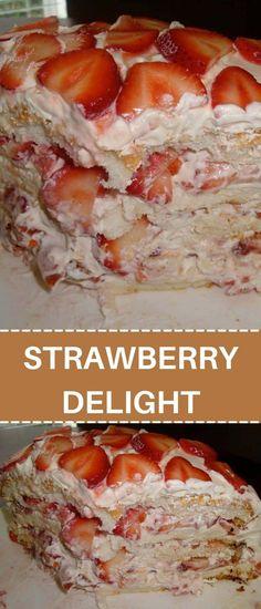 Almond Recipes, Fruit Recipes, Desert Recipes, Summer Recipes, Cake Recipes, Crowd Recipes, Strawberry Delight, Strawberry Desserts, Homemade Sweets