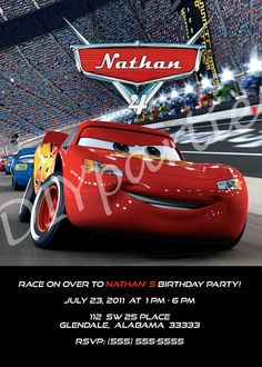 Cars Invitation with Lighting McQueen by DIYparties on Etsy, $5.00