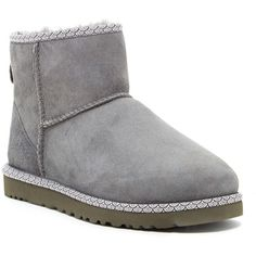 UGG Australia Classic Mini Scallop Leather Genuine Shearling Lined... ($90) ❤ liked on Polyvore featuring shoes, boots, ankle boots, chrc, lightweight boots, leather bootie, rubber sole boots, ugg australia boots and short leather boots