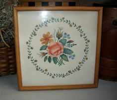 COUNTRY PRIMITIVE THEOREM PAINTING Rose Floral Ring - Framed