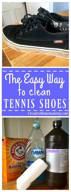 How to Clean Tennis Shoes - Tennis Adidas - Ideas of Tennis Adidas - Give your old tennis shoes new life with a little scrubbing and this simple homemade cleaning solution. Clean Tennis Shoes, Shoes Tennis, Diy Clean Shoes, Homemade Cleaning Products, Cleaning Recipes, Cleaning Hacks, Cleaning Crew, Shoe Cleaner Diy, Tennis