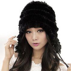 f3b7e1a6e67 Women s Rex-Rabbit Fur Winter Hat Ear Flap Warm Cap FURTALK Original  (Coffee) at Amazon Women s Clothing store