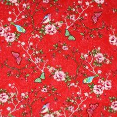Kinderstoffe Baumwoll - Vogel Auf Blumen Rot