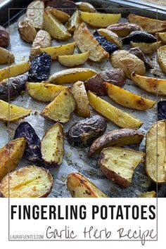 The very best roasted fingerling potatoes with garlic and pepper. These crispy potatoes are the perfect side dish for dinner.