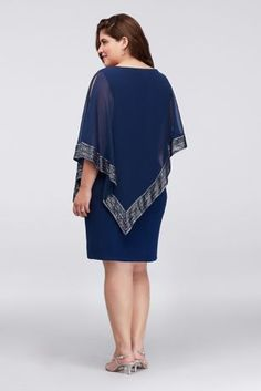 Chiffon and Jersey Dress with Foil-Trim Capelet 611176 Blue Chiffon Dresses, Short Dresses, Diy Dress, Party Dress, Plus Size Dresses, Plus Size Outfits, Mother Of Groom Dresses, Bride Dresses, Flattering Outfits