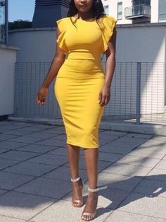 Shop Solid Flutter Sleeve Slit Bodycon Dress right now, get great deals at Voguelily Cheap Boutique Clothing, Women's Clothing, Clothing Stores, Clothing Websites, Fashion Websites, Urban Fashion, Womens Fashion, Cheap Fashion, Mellow Yellow