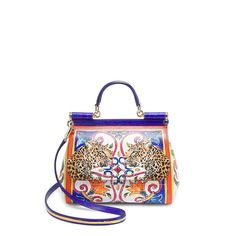 Dolce & Gabbana Maiolica Leo Sicily Bag ($2,475) ❤ liked on Polyvore featuring bags, handbags, shoulder bags, leather hand bags, hand bags, leather man bags, white leather handbags and man leather shoulder bag