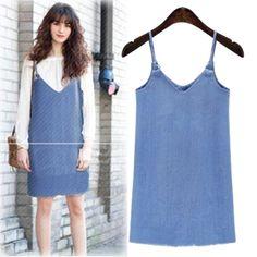 Plus Size Women Dresses 2XL 3XL 4XL Summer Vestidos Spaghetti Strap V-neck Sleeveless Denim Camis Dress