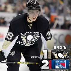 After one period its #Pens 1 #NYR 2. Shots are Pittsburgh 11, New York 12.