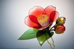 赤椿 簪【 黒侘助 】 2015 Camellia Kanzashi