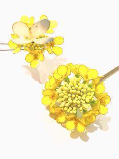 minne(ミンネ)| 簪 ー菜の花と紋白蝶ー