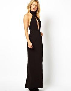 AQ AQ Halterneck Maxi Dress With Open Front