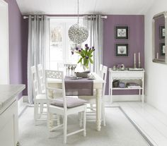 Dining Room Designs by Sophie Robinson. Purple and mauve, balanced by bright white floor.