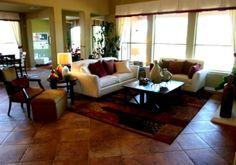 rustic living room tile floor photos | Design Showcase