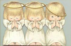 angelitos rezando. dibujo a color