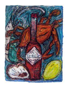 Hot Stuff  Louisiana seafood art from Etsy