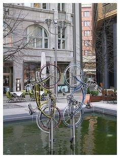 Berlin: weird bicycle statue in the Potsdamer Platz