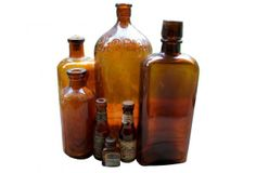 This collection includes a 5 bottles. Clorox, S., Lysol, and Prager Beer and one unmarked. Amber Bottles, Vintage Farm, Farm House, Beer, Glass, Collection, Home Decor, Vintage Farmhouse, Root Beer