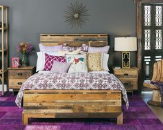 Furniture, Enchanting Platform Bed And Nightstands Made From Pallets In Bedroom With Purple Rugs Also Sunburst Mirror On Grey Walls: Creativ...