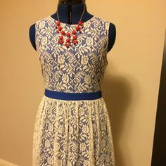 Rhyme Los Angeles blue lace dress (from Piperlime) Rhyme Los Angeles Nelly Lace fit and flare dress. Adorable blue dress with lace overlay and blue grosgrain belt. Size Medium, runs just a little big. Worn only once for a short event! Rhyme Los Angeles Dresses