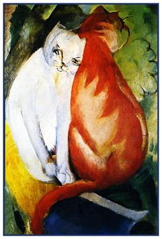 A Red and A White Cat by Expressionist Artis Franz Marc Counted Cross Stitch or Counted Needlepoint Pattern