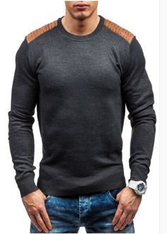 fe47f02cc2b Sweater Pullover Men 2017 Male Brand Casual Slim Sweaters Men Suede Patch  Hedging O-Neck